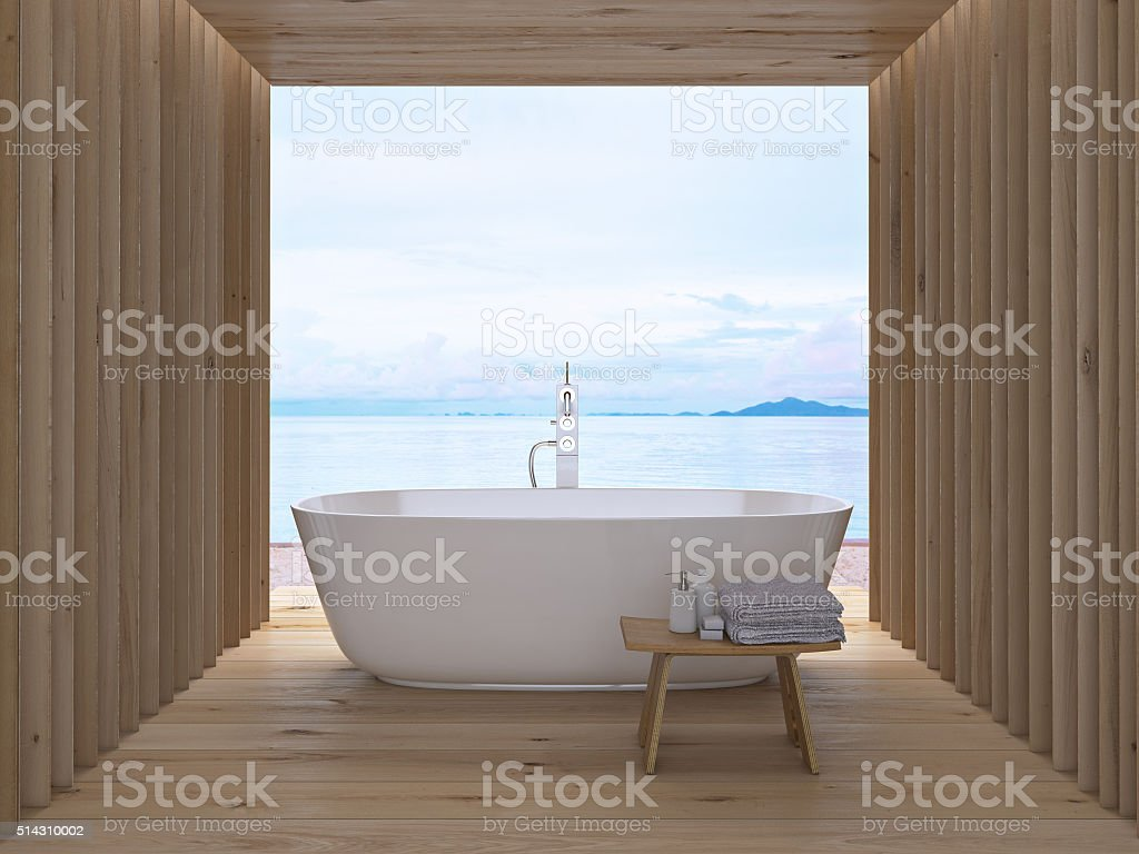 Modern luxury bathroom interior. 3d rendering stock photo