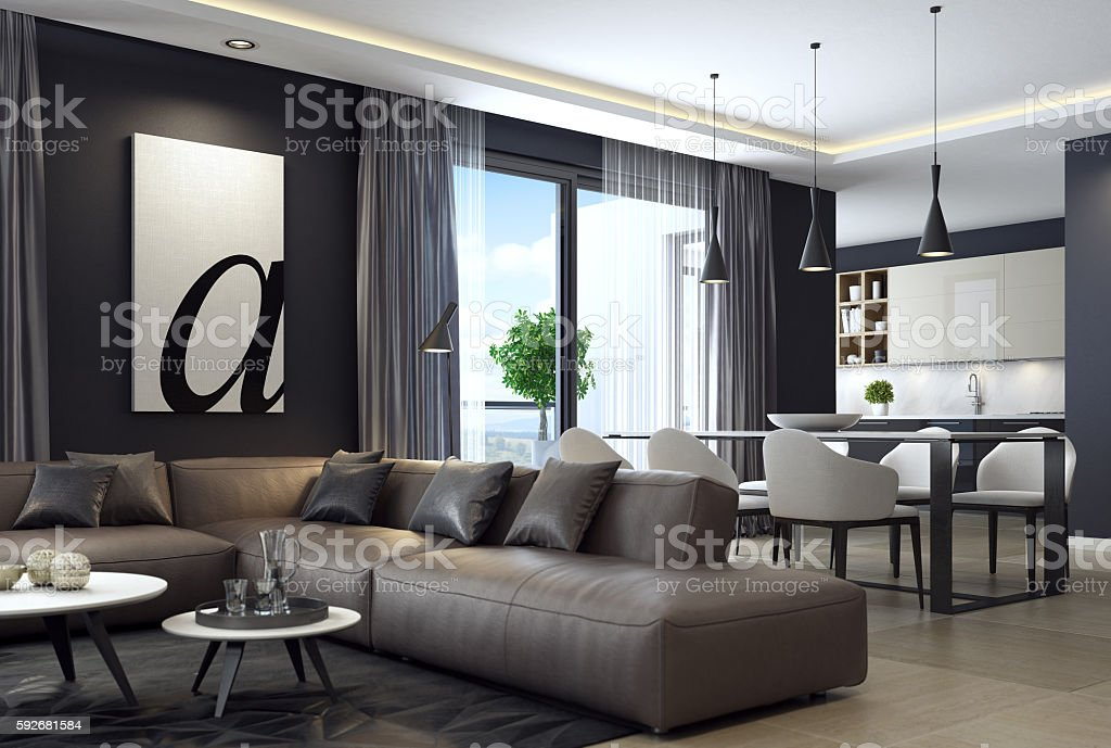 Modern luxury black style apartment with leather sofa stock photo