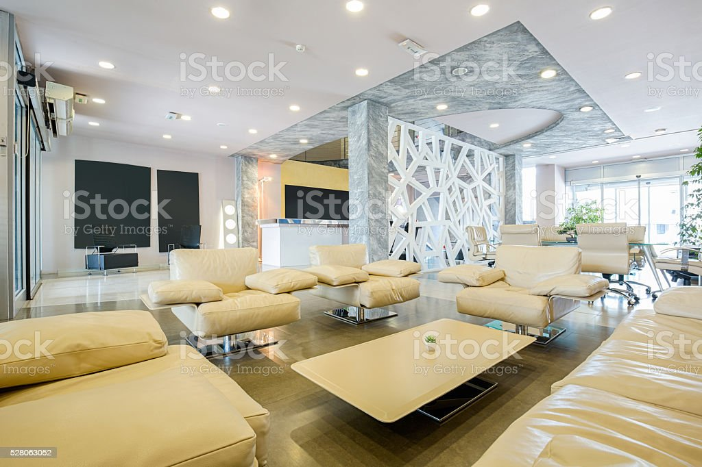 Modern luxury hotel lobby interior stock photo