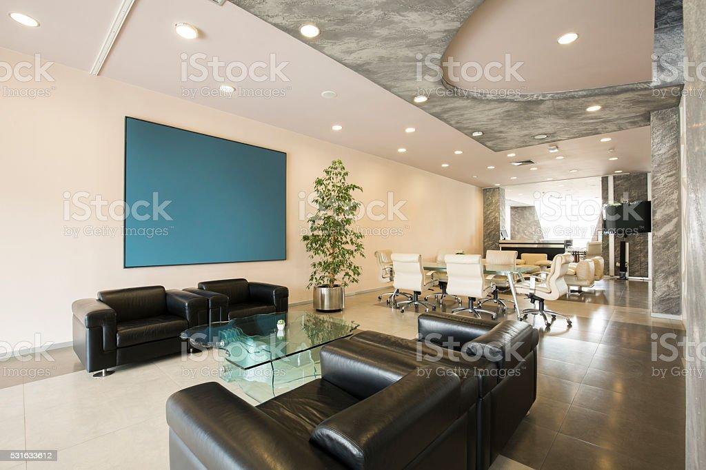 Modern luxury hotel lobby interior stock photo