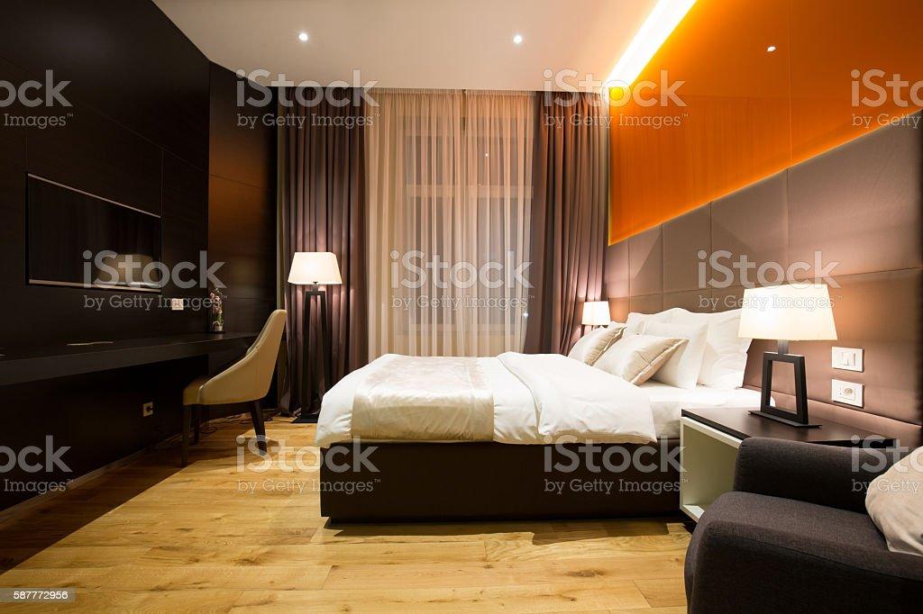 Modern luxury hotel suite interior stock photo