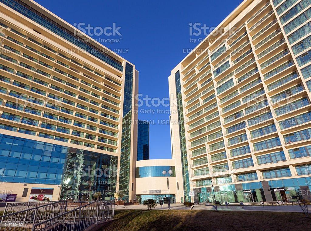 Modern luxury hotels Pullman on Black Sea city of Sochi stock photo