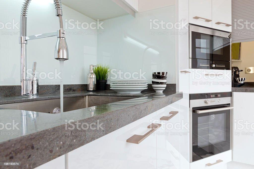 Modern  luxury  kitchen condo apartment. stock photo