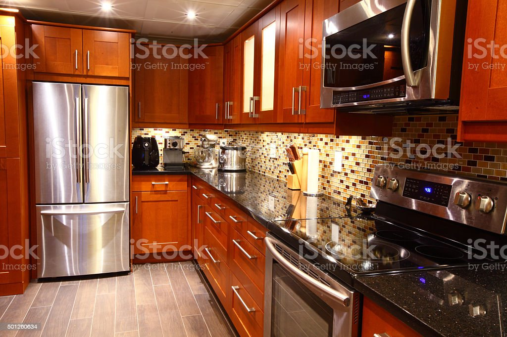 Modern luxury kitchen interior stock photo