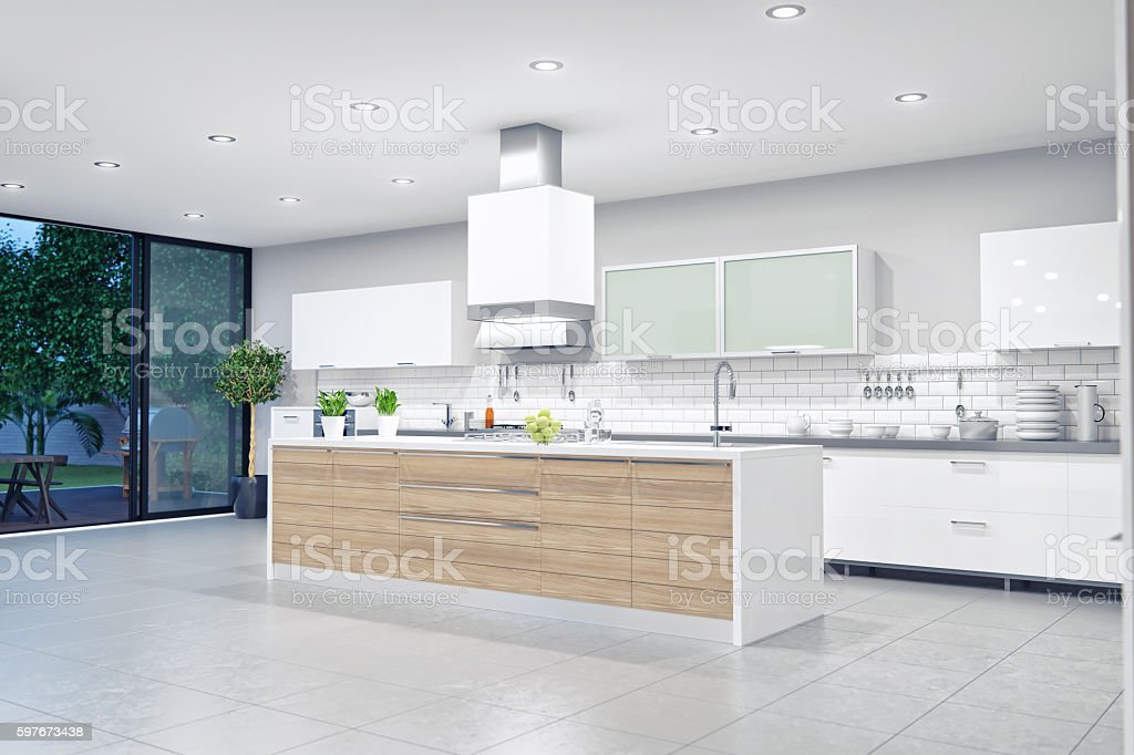 Modern Luxury Kitchen Interior stock photo