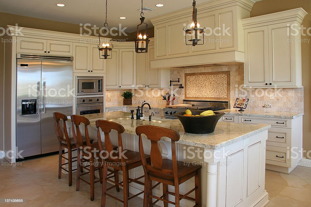 Modern, luxury kitchen stock photo