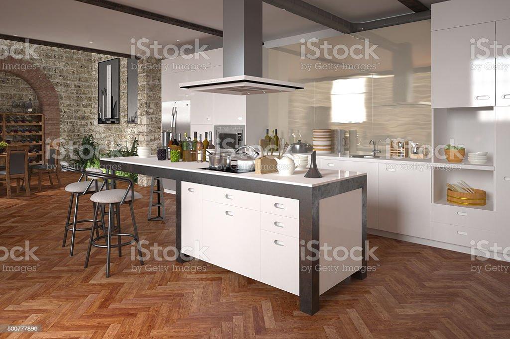 Modern luxury open-plan kitchen stock photo
