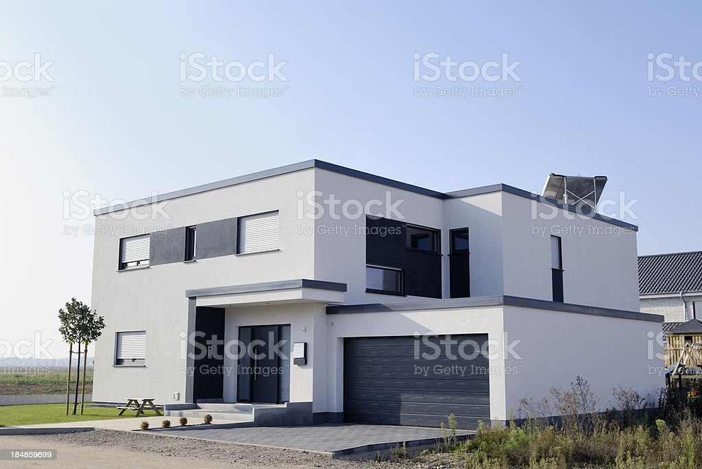 Modern luxury white house with garage stock photo