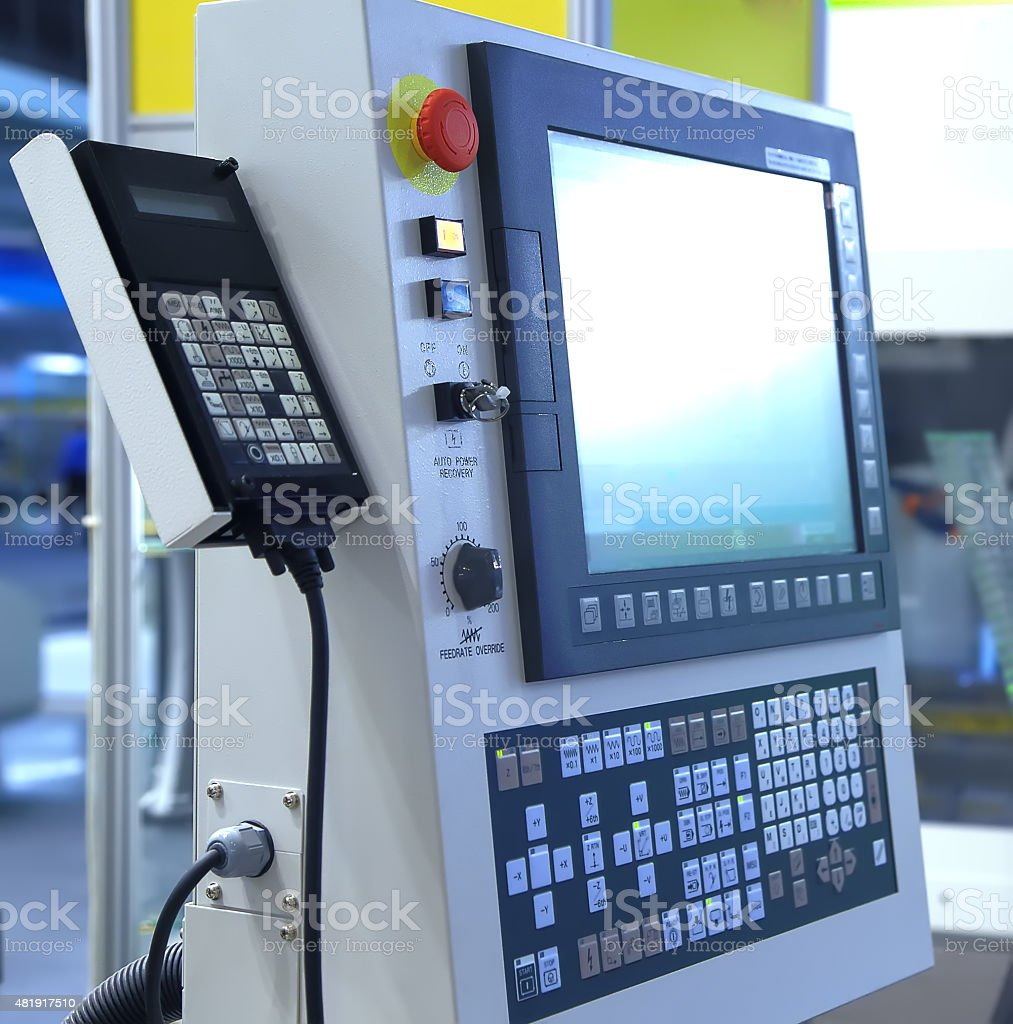 Modern machine control terminal with monitor and keyboard stock photo