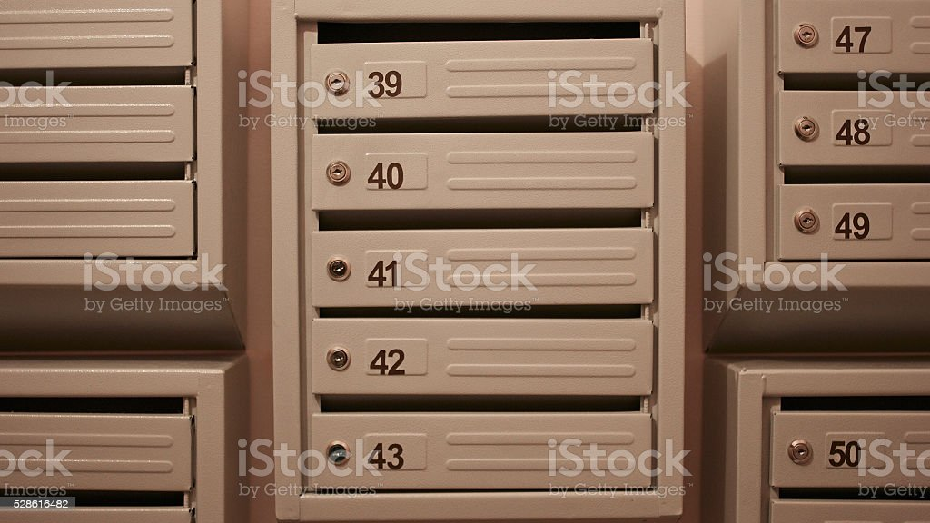 Modern mailboxes stock photo