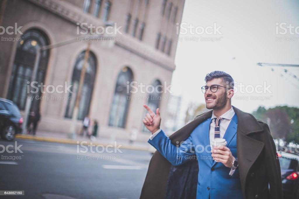 Modern man on the street stock photo