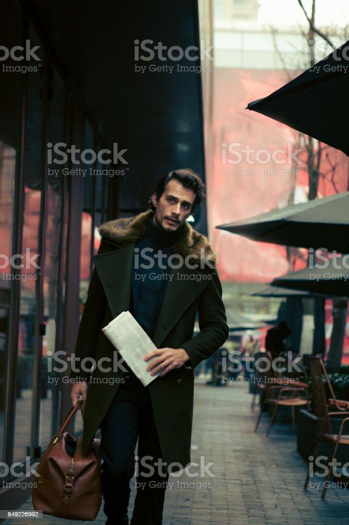 Modern man traveler stock photo