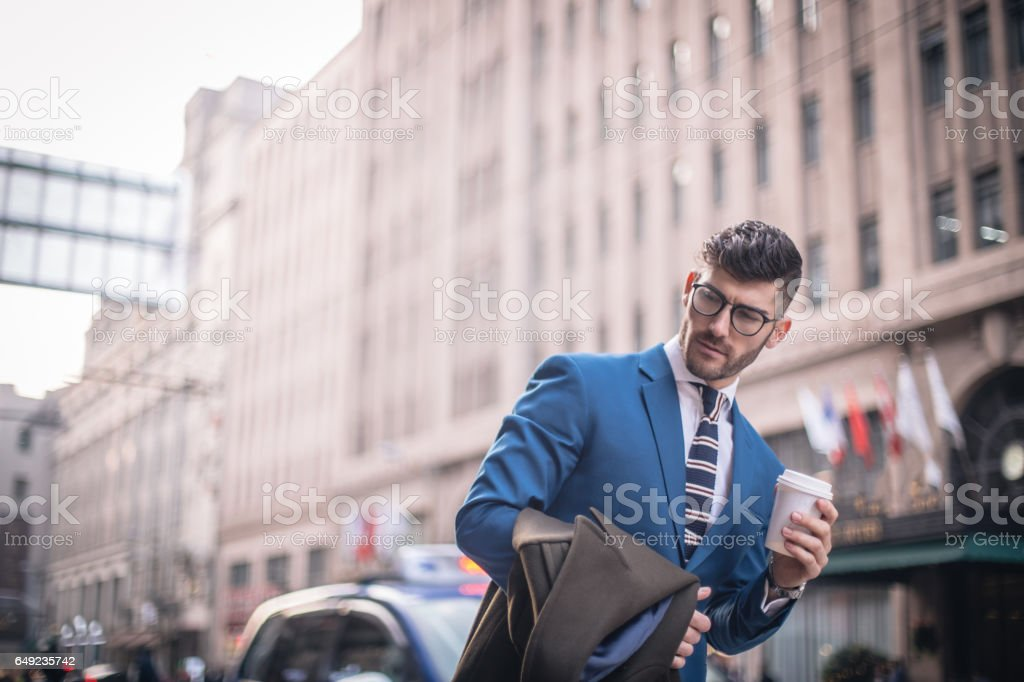 Modern man with coffee cup stock photo