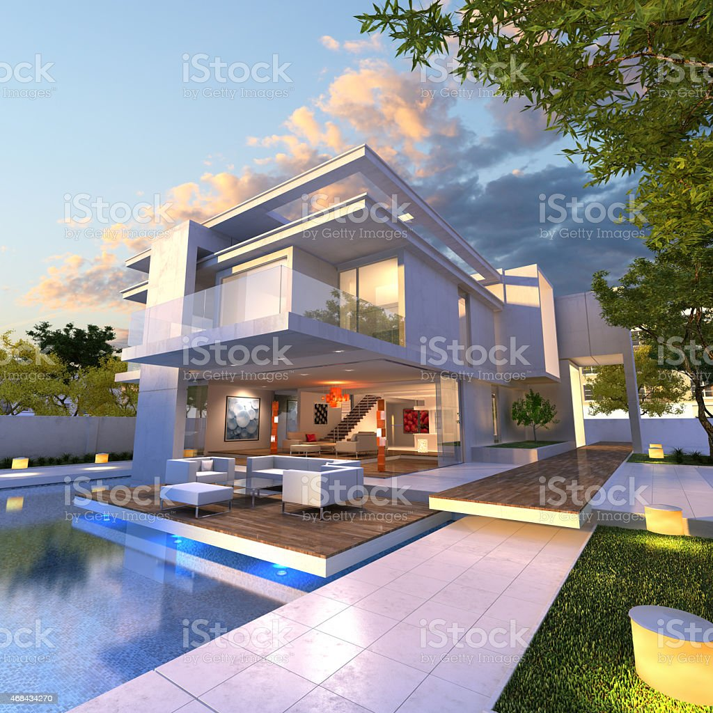 Modern mansion stock photo