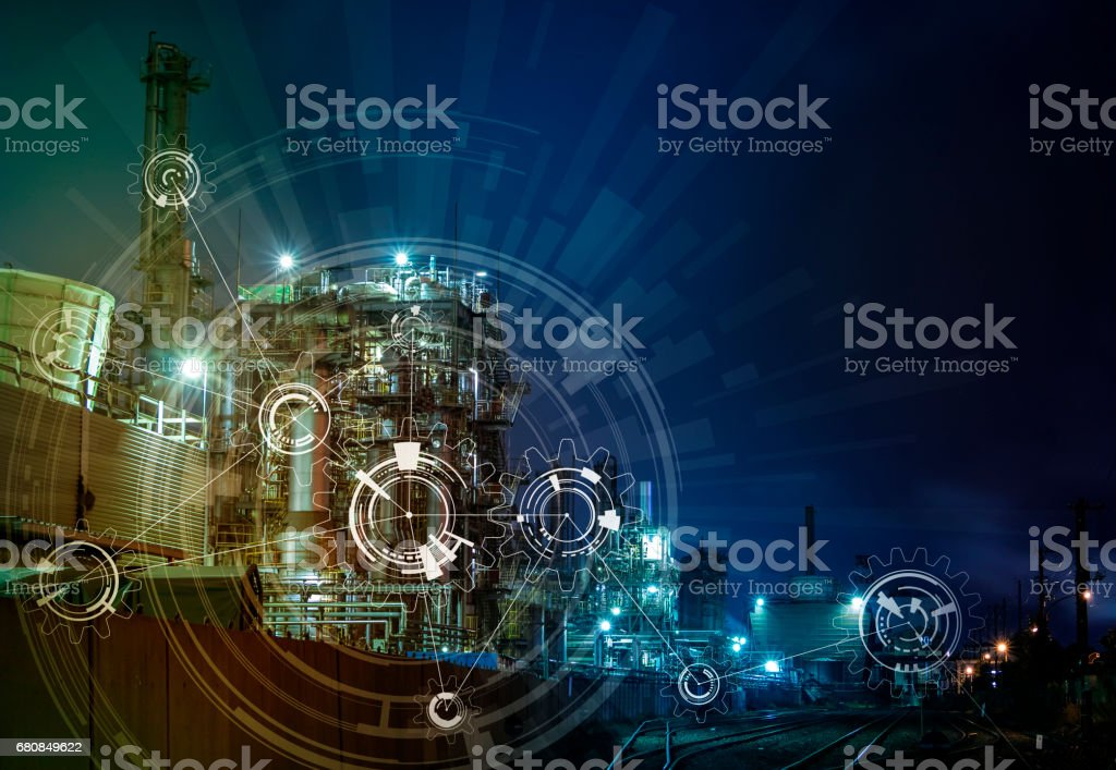 modern manufacturing industry and mechanization concept, abstract image visual stock photo