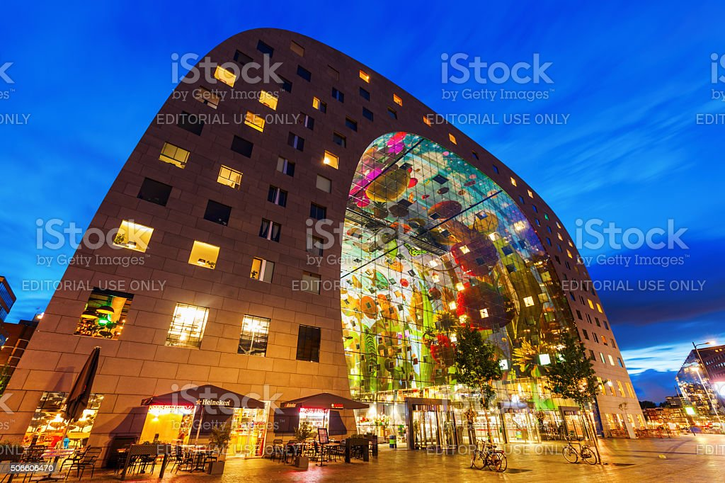 modern market hall in Rotterdam, Netherlands stock photo