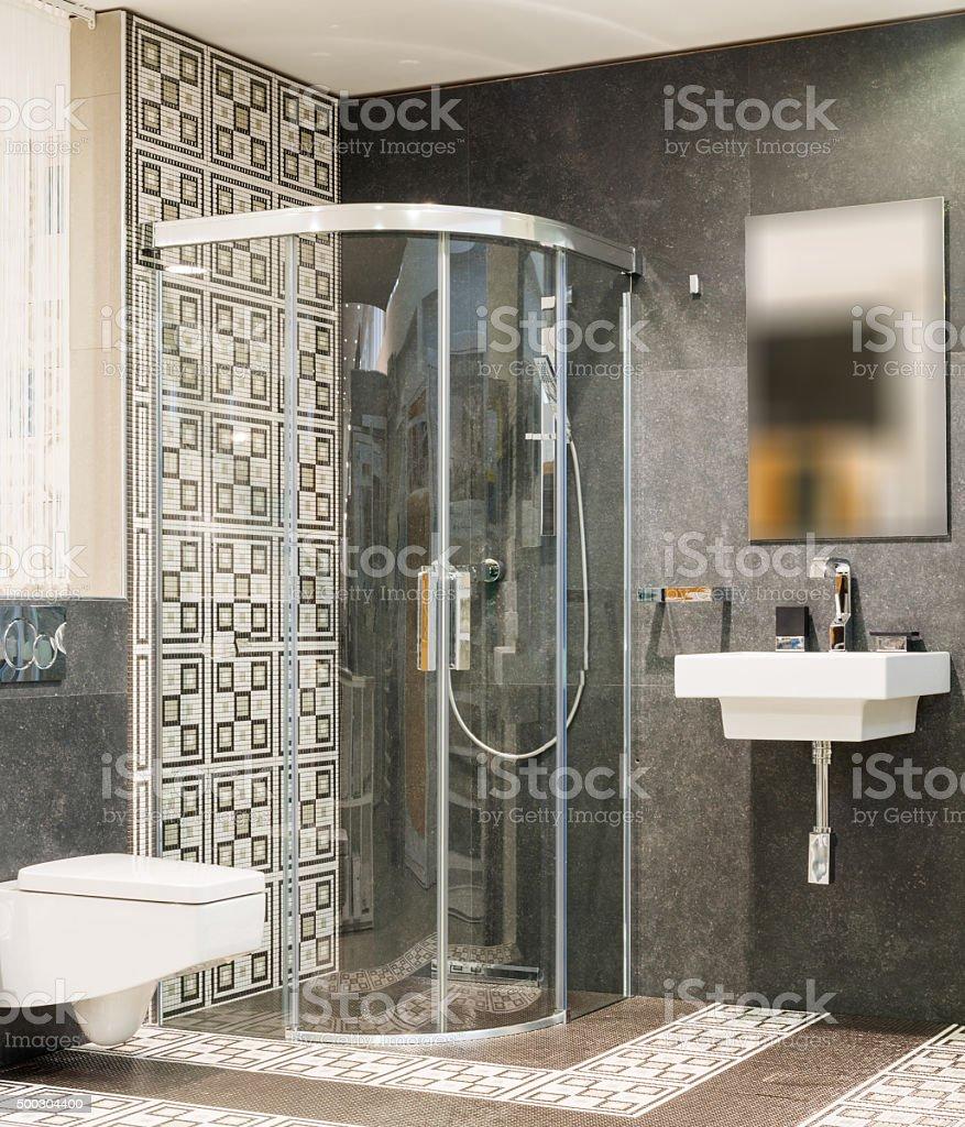 Modern master bathroom stock photo