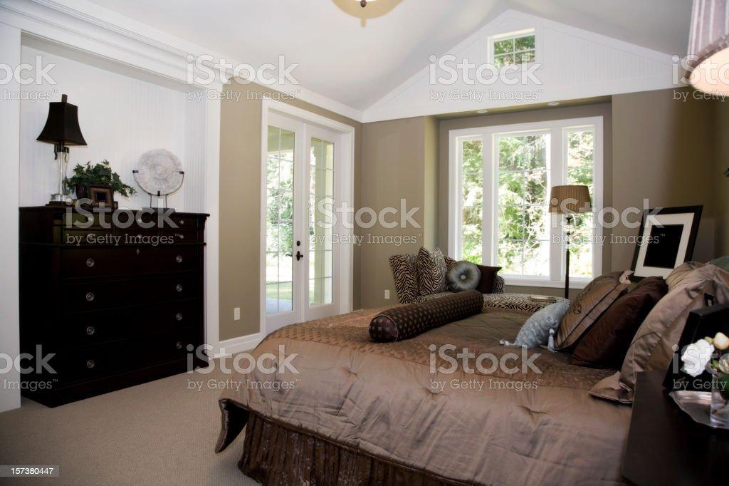 Modern Master Bedroom Retreat Interior architecture design model stock photo