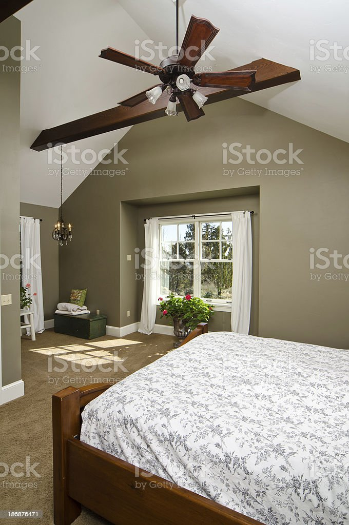Modern master bedroom with scenery royalty-free stock photo