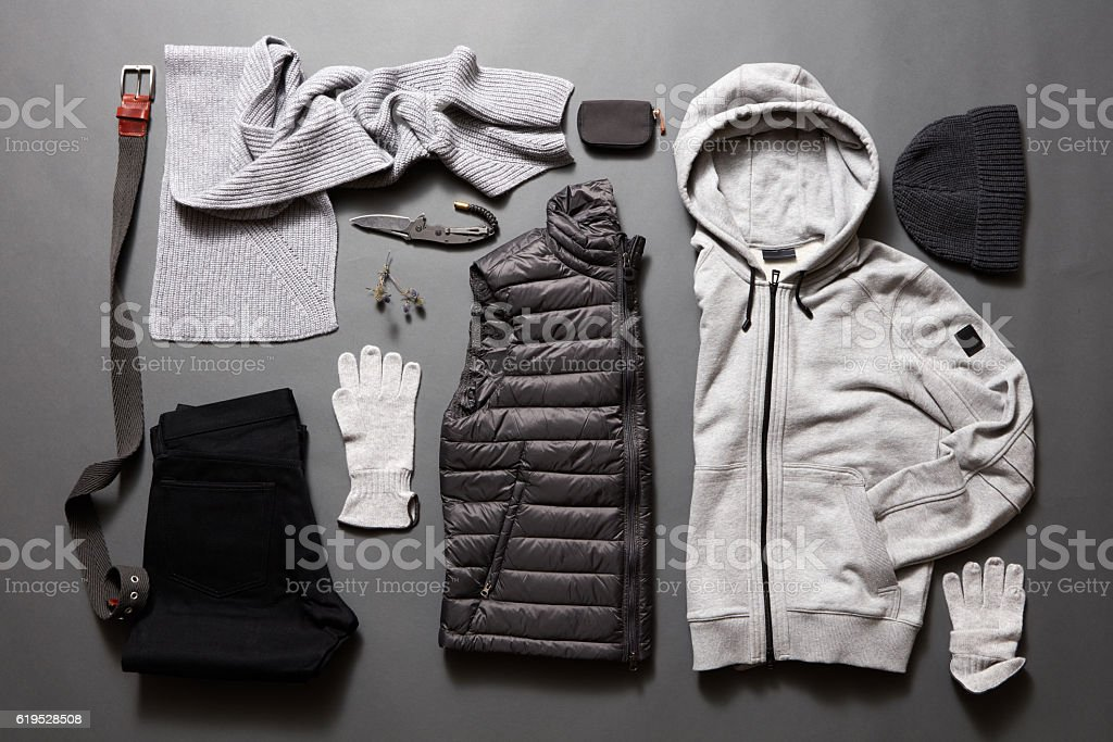 Modern men's clothing and accessories stock photo