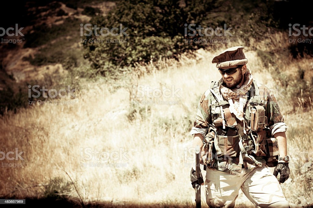 Modern Mercenary Soldier Dressed as Afghan Guide royalty-free stock photo