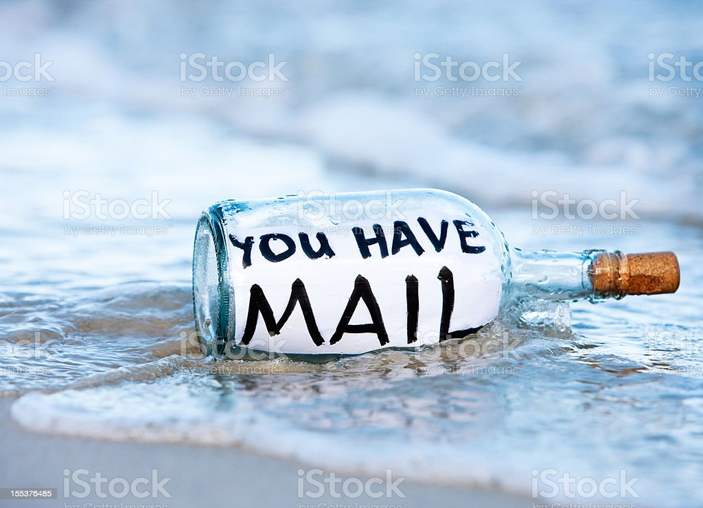 Modern message in a bottle says You have mail royalty-free stock photo