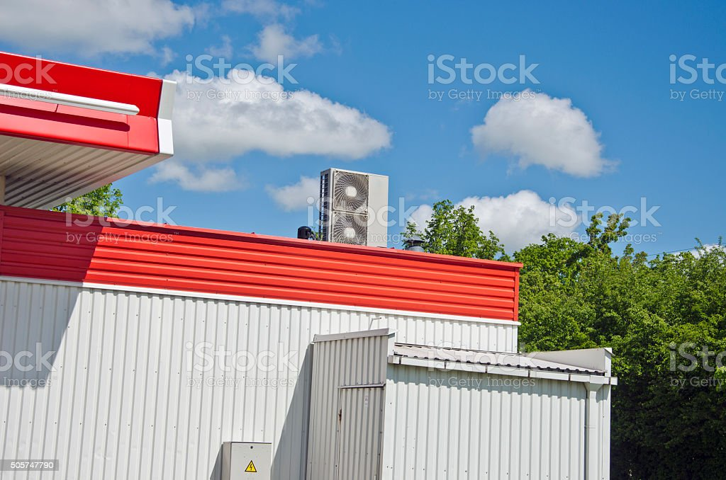 Modern metal building with air conditioner system stock photo