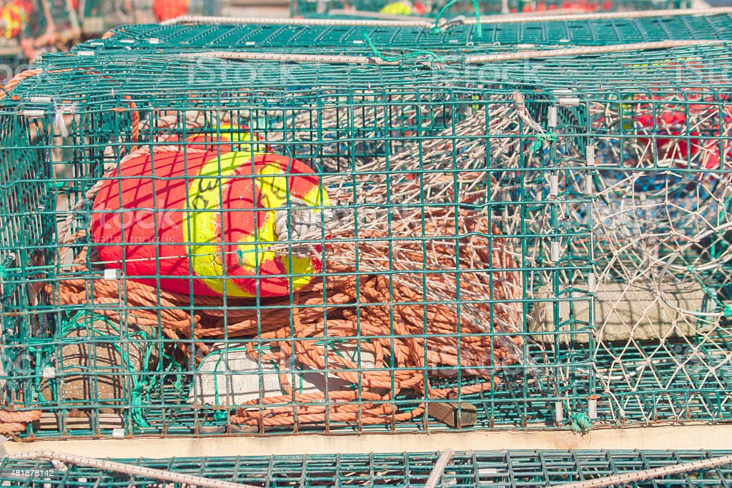 Modern Metal Lobster Trap With Lines and Float stock photo