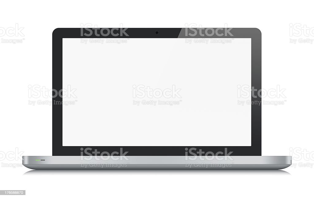Modern metallic laptop isolated stock photo