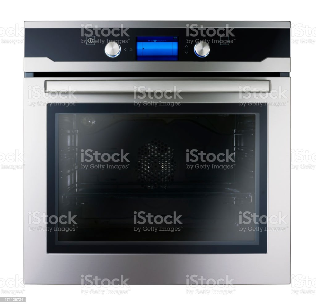 Modern metallic oven (isolated with clipping path over white background) stock photo