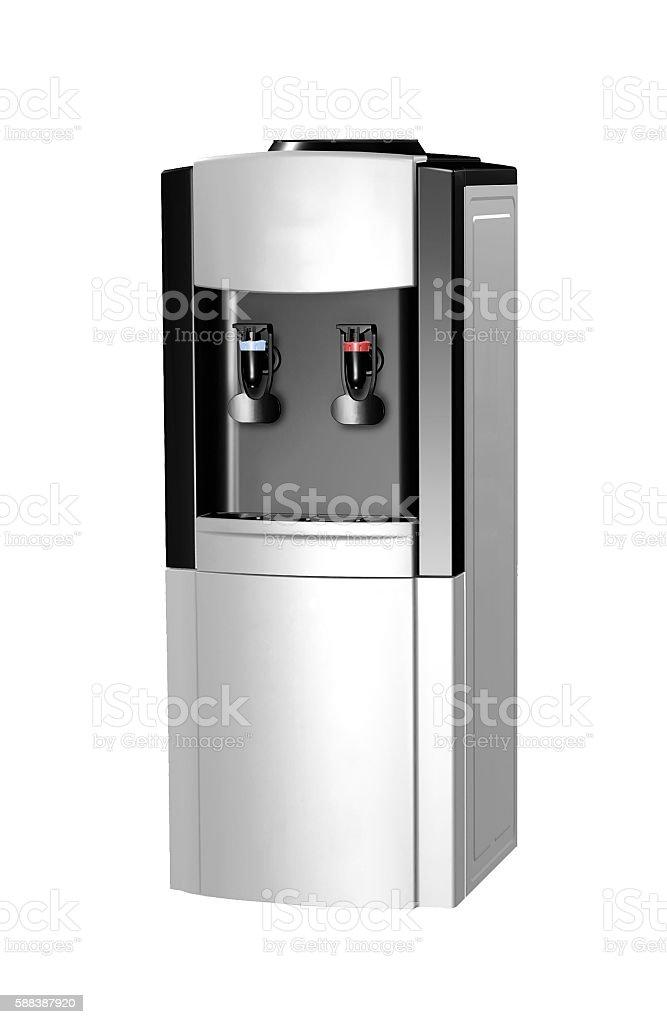 modern metallic water cooler isolated stock photo