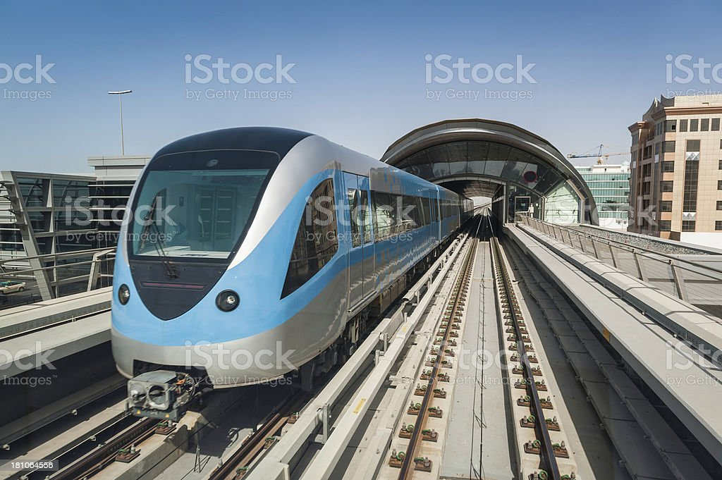 Modern metro elevated railway Dubai stock photo