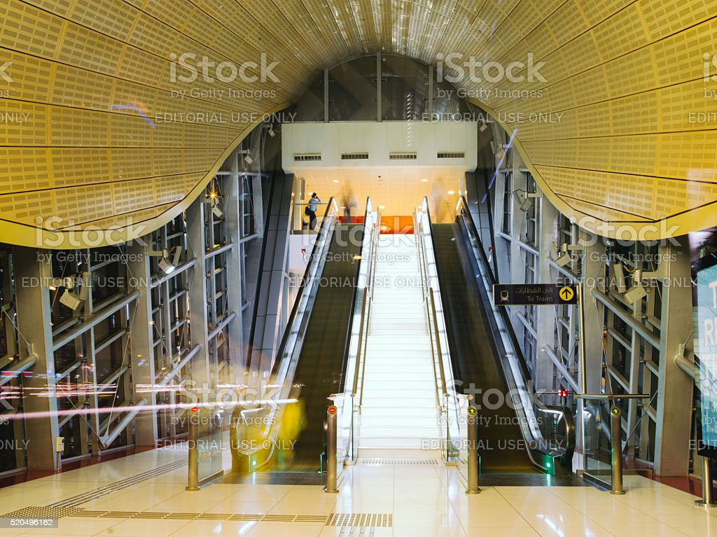 Modern metro railway station in Dubai United Arab Emirates stock photo