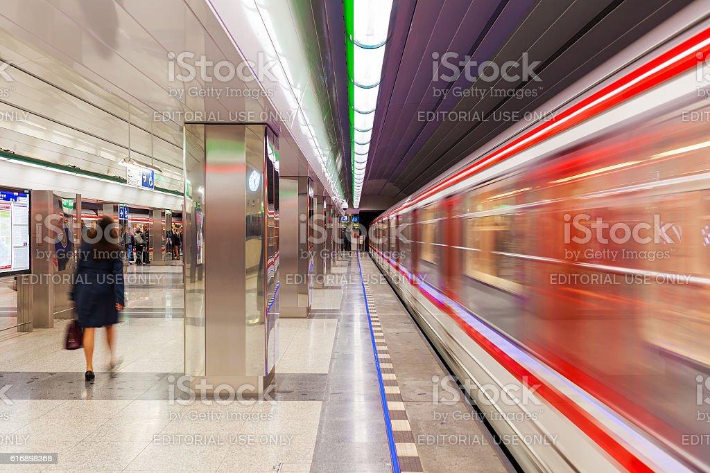 Modern metro station in Prague. stock photo