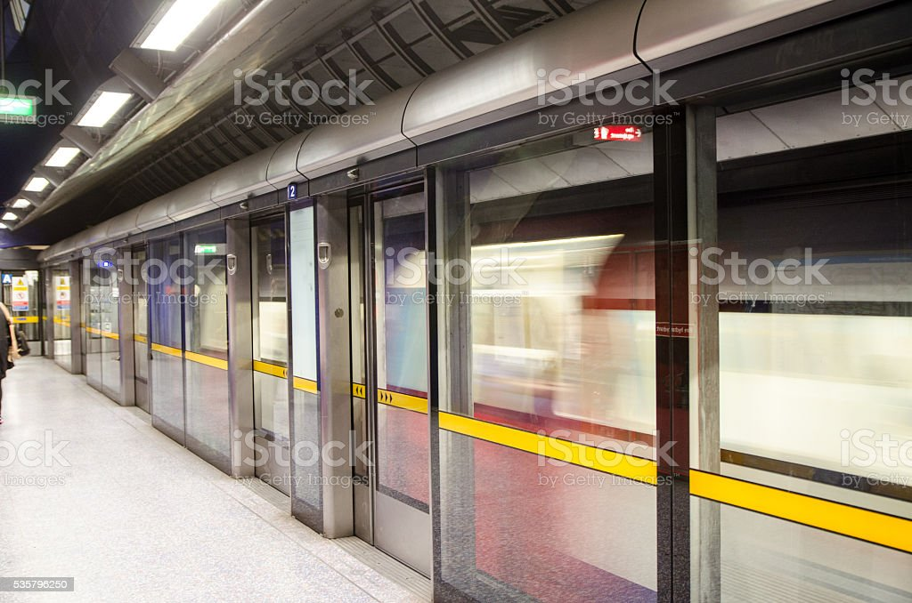Modern metro station with saferty doors stock photo