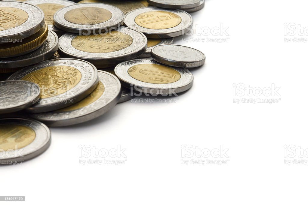 Modern Mexican Peso Coins with White Copy Space stock photo