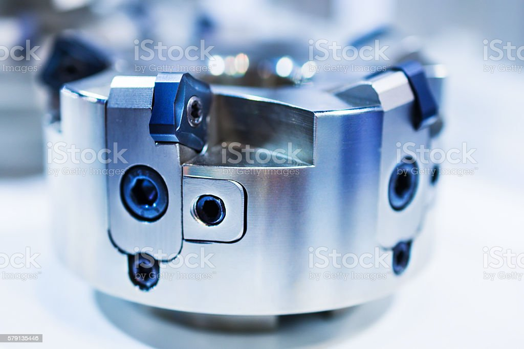 Modern milling cutter with indexable inserts. stock photo