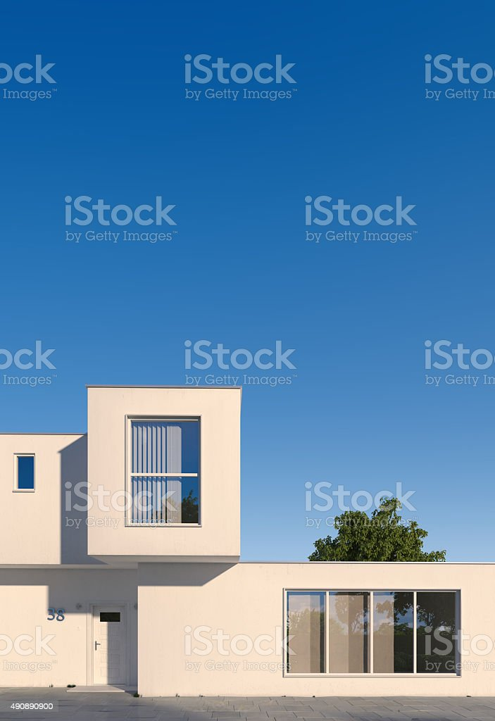 Modern minimal cubic house stock photo