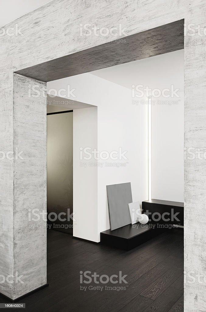 Modern minimalism style corridor interior in black and white tones royalty-free stock photo