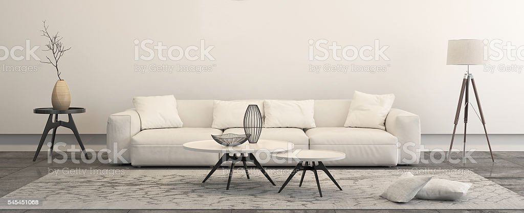 Modern minimalist style penthouse living room stock photo