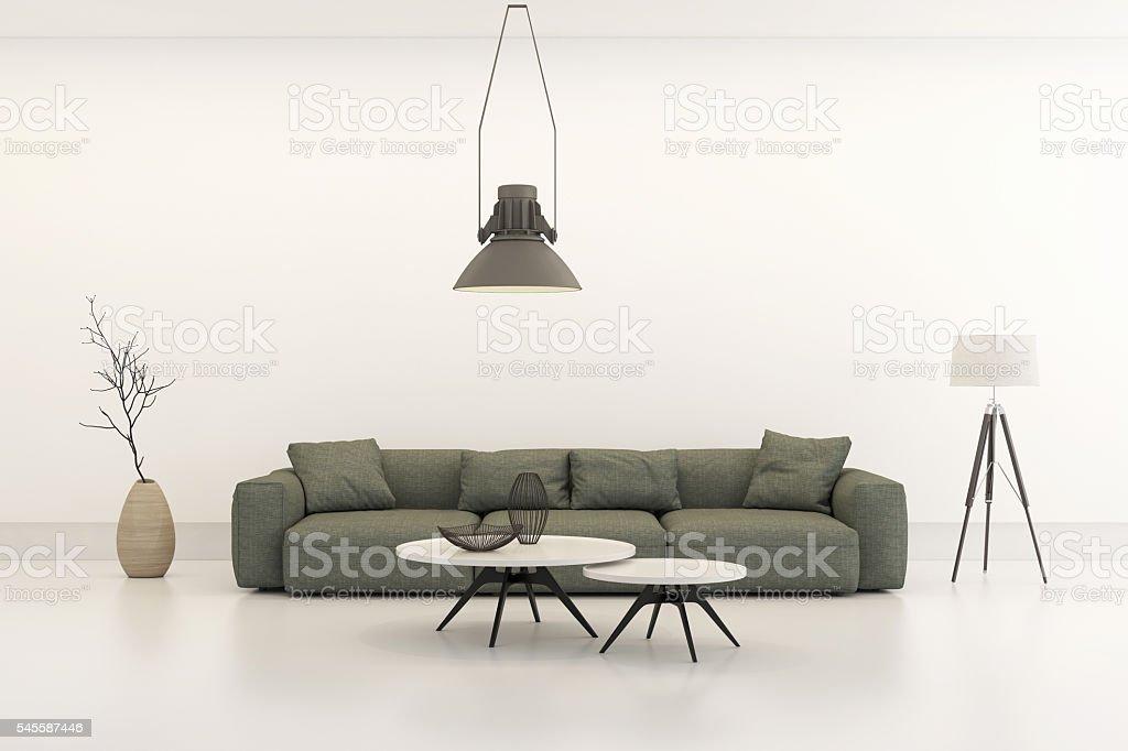 Modern minimalist style penthouse living room stock photo