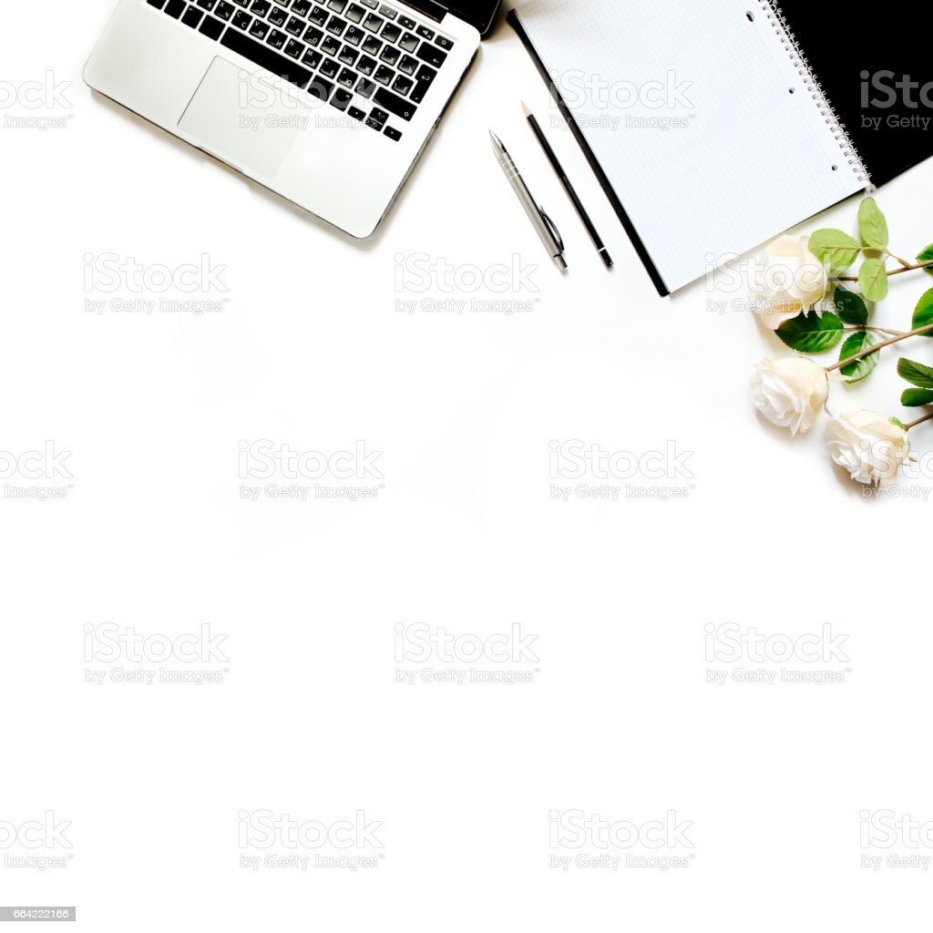 Modern Minimalistic Work Place White Office Desk Table With Laptop ...