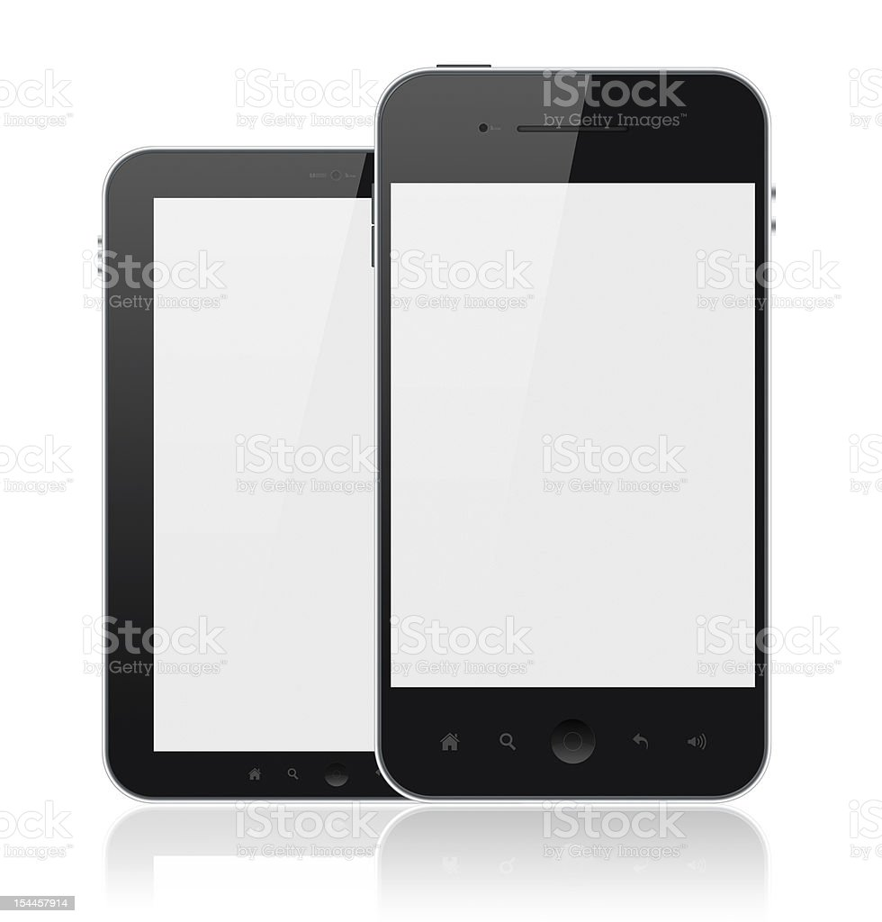 Modern Mobile Phones With Blank Screen Isolated royalty-free stock photo