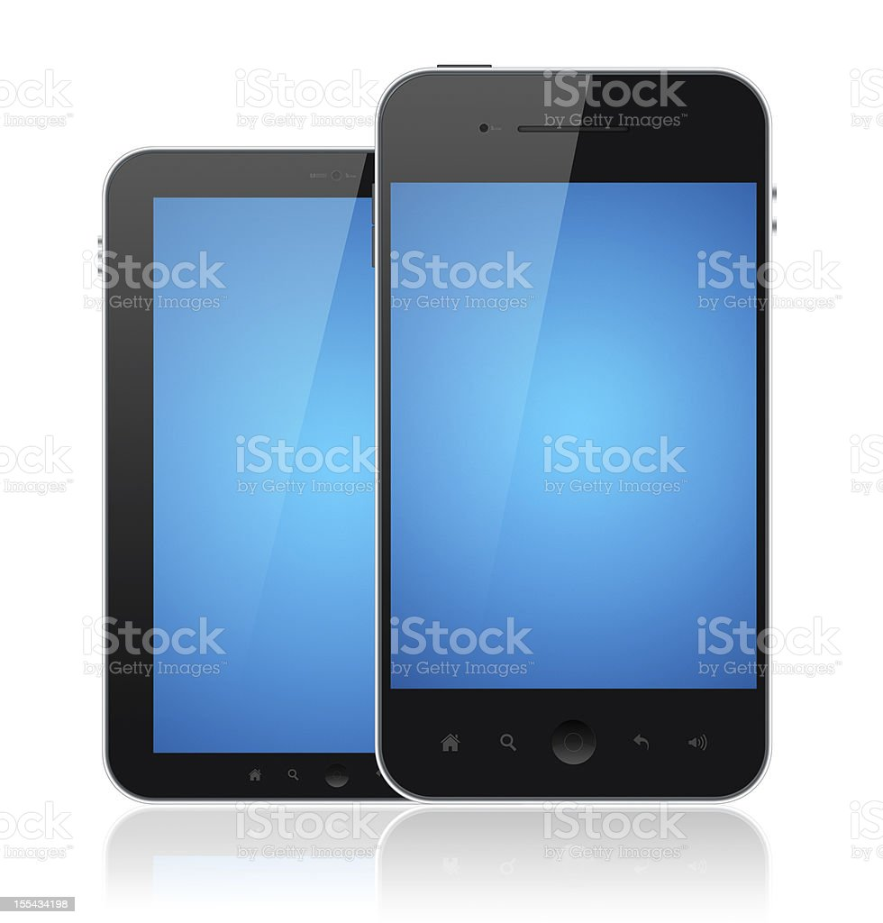Modern Mobile Phones With Blue Screen Isolated royalty-free stock photo