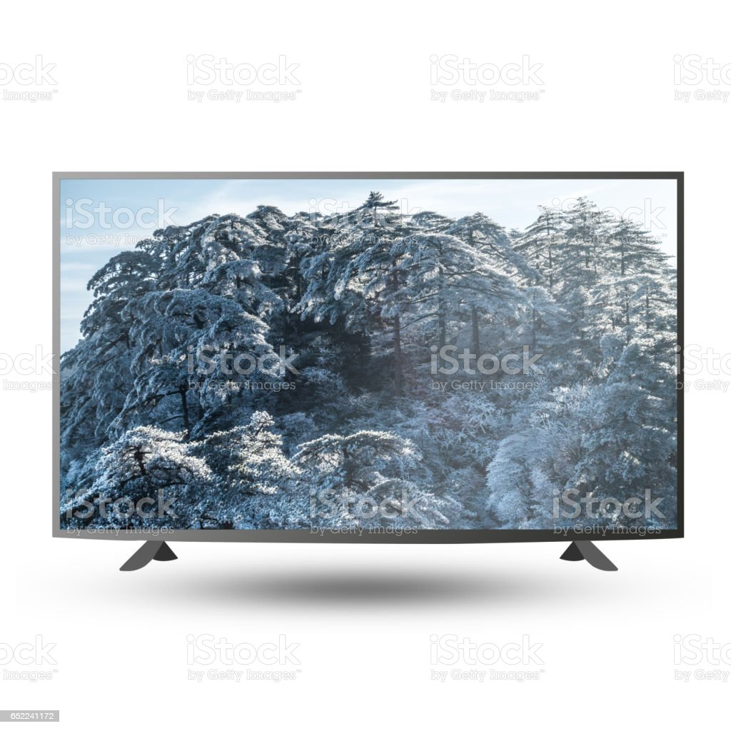 modern monitor with Huangsan photo on screen isolated on white with clipping path stock photo