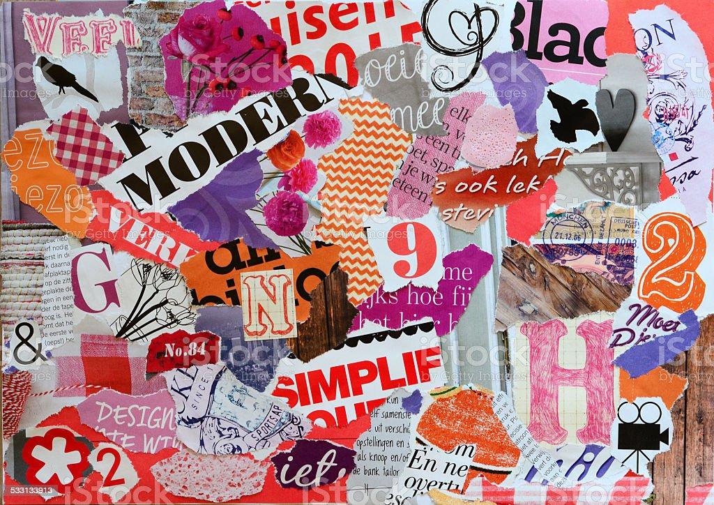 Modern Mood board for girl teens stock photo
