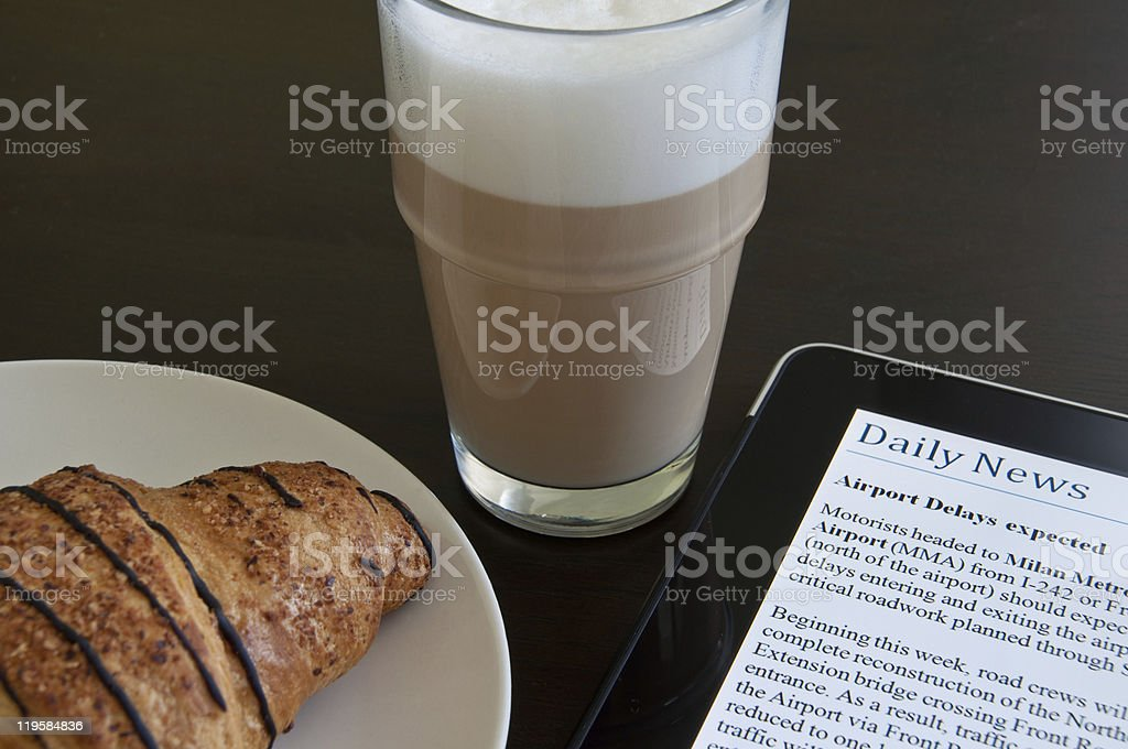 Modern Morning News With Touchscreen royalty-free stock photo