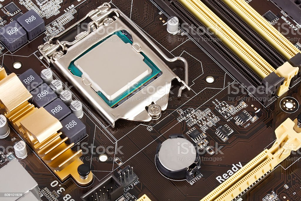 Modern motherboard stock photo