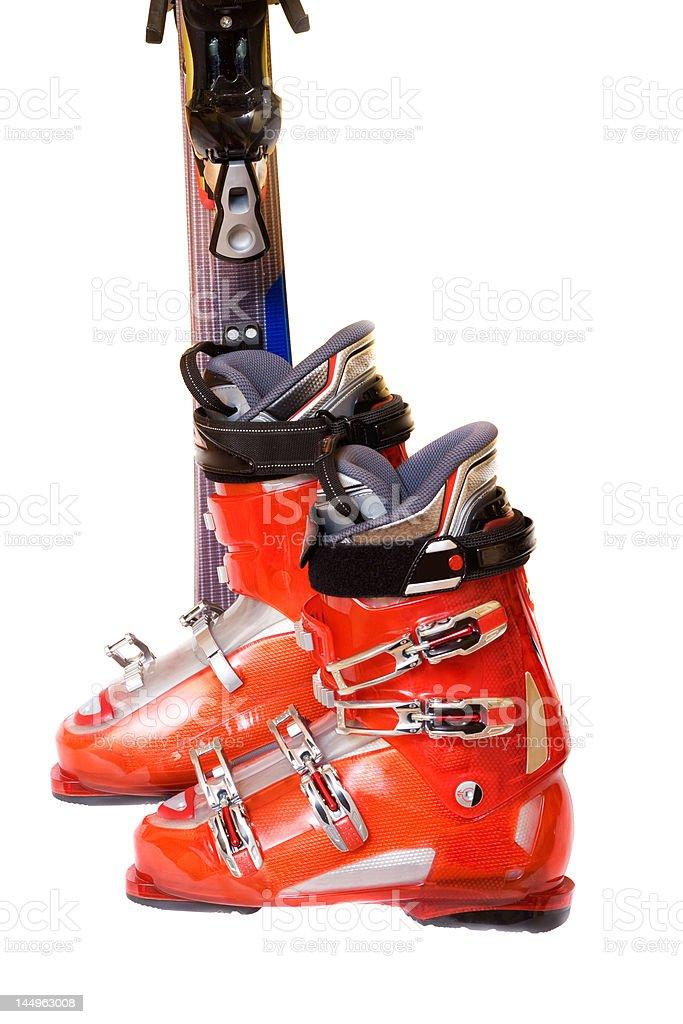 Modern mountain ski boots royalty-free stock photo