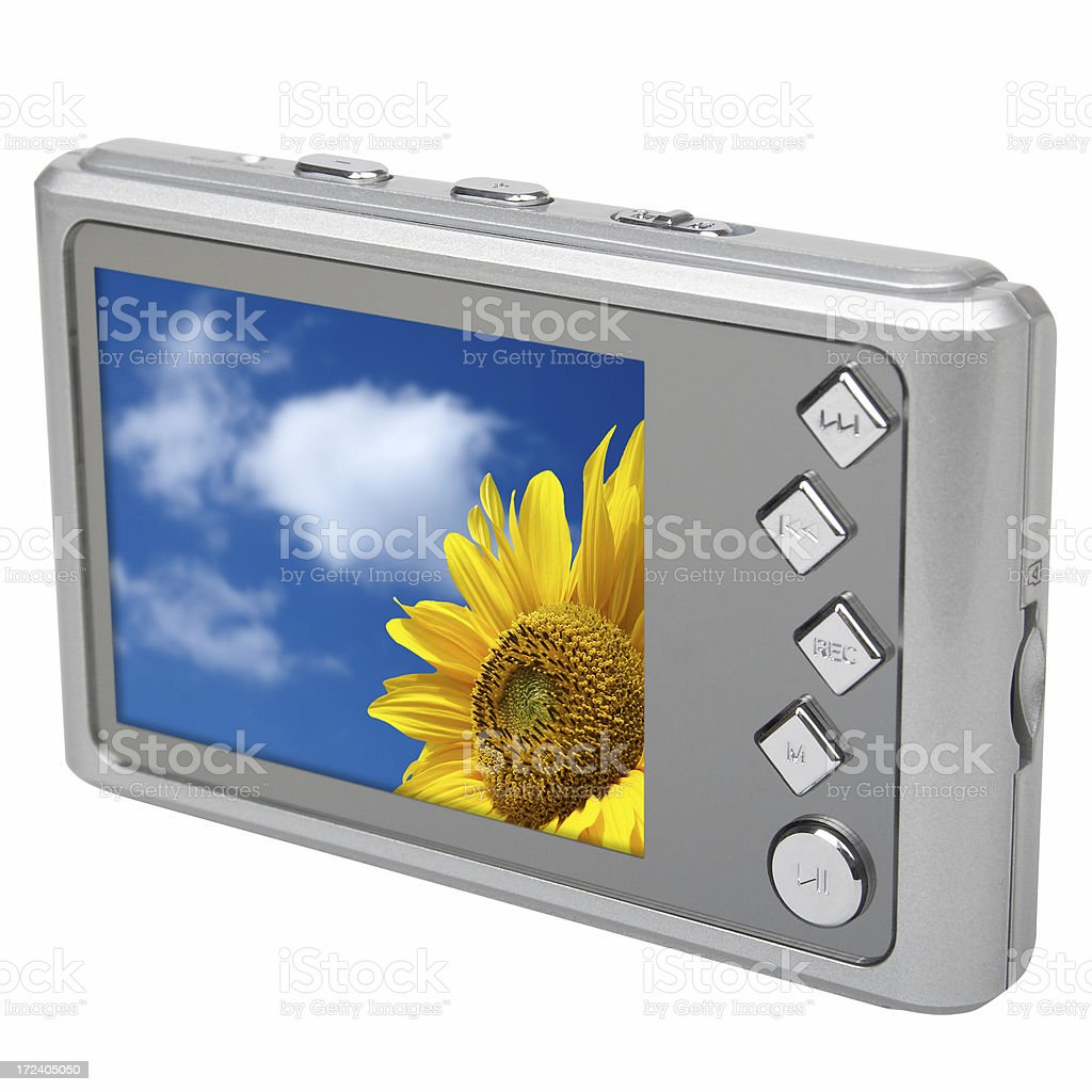 Modern MP3/MP4 multimedia player (clipping path), isolated on white background royalty-free stock photo
